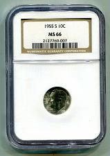 Buy 1955-S ROOSEVELT DIME NGC MS 66 NICE ORIGINAL COIN FROM BOBS COINS FAST SHIPMENT