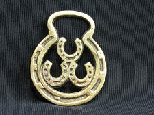 Buy SMALL Triple Lucky Horseshoe Horse Brass Medallion Harness VTG