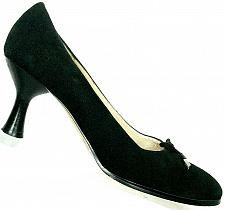 Buy Anne Klein Womens Black Suede Leather Kitten Heel Pumps With Bow Size 6.5 M