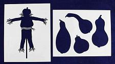 """Buy Scarecrow and Gourds Stencils- Mylar 2 Pieces of 14 Mil 8"""" X 10"""" Painting /Craft"""
