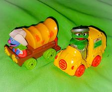 """Buy VINTAGE 1980S MUPPETS PLAYSKOOL OSCAR THE GROUCH AND GROVER 3"""" DIECAST LOT RARE"""