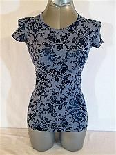 Buy TWENTY ONE womens Small S/S GRAY BLUE FLORAL STRETCH TOP BLOUSE (K)M