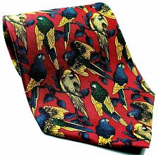 Buy Parrots Perched Tropical Birds Macaws Red Gold Novelty Silk Tie
