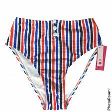 Buy NWT Xhilaration Button-Front Ribbed High Waist Bikini Swim Bottom Medium Striped