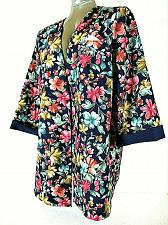 Buy IN CINQ womens Sz 22W 3/4 sleeve blue green pink floral OPEN FRONT jacket (S)