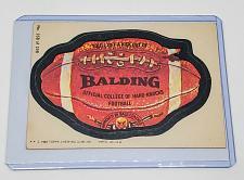 Buy VINTAGE 1980 Topps Wacky Packages BALDING COLLEGE OF HARD KNOCK FOOTBAL #186