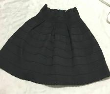 Buy Anthropologie Girls From Savoy Women M/L Black Thick Knit Textured Tiered Skirt