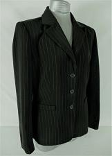 Buy SICARI womens Sz 10 L/S black WHITE PINSTRIPE very SOFT button down jacket (B5)P