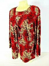 Buy FASHION BUG womens Sz 14/16 L/S red ivory gold 2 FER tie front STRETCH top (J)