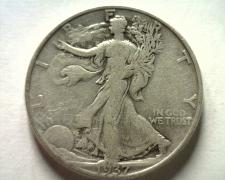 Buy 1937-D WALKING LIBERTY HALF FINE+ F+ NICE ORIGINAL COIN BOBS COINS FAST SHIPMENT