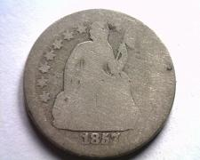 Buy 1857 SEATED LIBERTY DIME ABOUT GOOD AG ORIGINAL COIN FROM BOBS COINS FAST SHIP