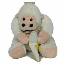 "Buy Kids of America White Gorilla with Banana Plush Stuffed Animal 2001 8.5"""