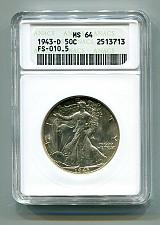 Buy 1943-D WALKING LIBERTY HALF DOLLAR FS-010.5 ANACS MS64 NICE ORIGINAL COIN