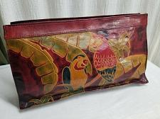 Buy Vintage Tooled Leather Zippered Envelope Clutch Purse Parrots Birds Palm Trees