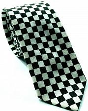Buy Black White Checks Retro Racing Novelty Tie