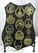 Buy LOT of 12 Horse Brass mounted on Wood Plaque Wall Hanging Vintage Collection