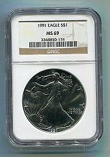 Buy 1991 AMERICAN SILVER EAGLE NGC MS69 BROWN LABEL PREMIUM QUALITY NICE COIN