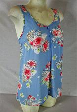 Buy CANDIES womens Small sleeveless blue FLORAL PRINT back bow top (Z)
