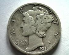 Buy 1928-S MERCURY DIME VERY FINE+ VF+ NICE ORIGINAL COIN BOBS COINS FAST SHIPMENT
