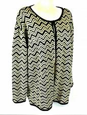 Buy August Max Woman womens 2X L/S gold black SEQUINED METALLIC cardigan sweater (G)