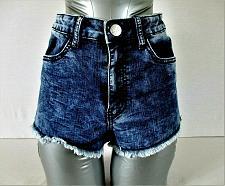 Buy CRAVE FAME girls juniors Sz 7 W24 denim ACID WASH cut off stretch shorts (B7)