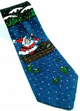 Buy Hallmark Santa Claus Fishing Christmas Boat Mountains Novelty Necktie
