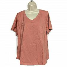 Buy Denim & Co. Womens Essentials Textured Knit Short-Sleeve Top Size Large Pink