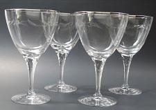 Buy 4 Tiffin Rivirea platinum Hand cut glass goblets never used, in shipping box