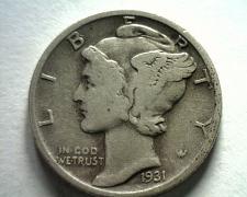 Buy 1931 MERCURY DIME VERY FINE VF NICE ORIGINAL COIN BOBS COINS FAST SHIPMENT