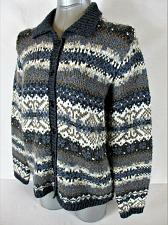 Buy CROFT & BARROW womens Medium L/S blue gray BUTTON DOWN CARDIGAN sweater (A3)