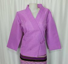 Buy Lao Laos Orchid Purple Suea pat V-Neck Blouse Wrap Shirt Synthetic Silk Size 20