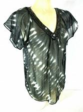 Buy Express womens Small S/S black white SEQUINED & BEADED neckline sheer top N)PMTD