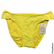 Buy NWT Hula Honey Womens Eyelet Hipster Bikini Swim Bottom XS Yellow Embroidered