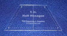 """Buy Quilt Templates-Half Hexagon 5"""" with Center Guideline & Guide Holes"""