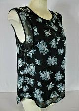 Buy VERA WANG womens Small sleeveless black gray white SHEER BACK PANEL top (B7)P