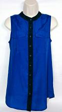 Buy J Crew Womens Sleeveless Blouse Size 2 Black Blue Button Down Front Pocket