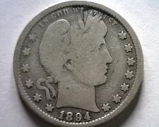 Buy 1894 BARBER QUARTER DOLLAR GOOD / VERY GOOD G/VG NICE ORIGINAL COIN BOBS COINS