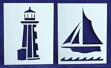 """Buy Lighthouse/Sailboat Stencils Mylar 2 Pieces of 14 Mil 8"""" X 10"""" - Painting /Craft"""