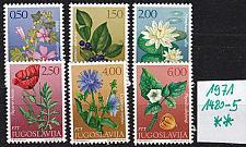 Buy JUGOSLAVIA [1971] MiNr 1420-25 ( **/mnh ) Blumen