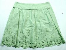 Buy Loft Womens A Line Skirt Size 2 Green Back Zip Cutout Embroidered Pleated