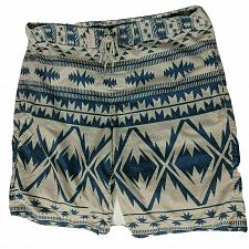 Buy Arizona Jean Co Mens Board Shorts Swimsuit Sz 36 Blue Beige Geometric Drawstring