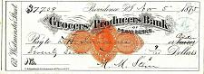Buy November 5, 1875 The Grocers & Producers Bank of Providence, R.I. Check Draft