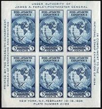 Buy 1934 3c Byrd, Imperforate Sheet of 6, issued without gum Scott 735a Mint VF NH