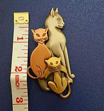 Buy K & T Pewter Cat Brooch in Brass, Copper and Pewter Tones