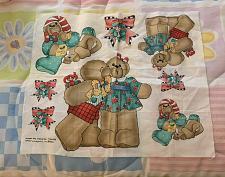 Buy New Christmas Teddy Bear Applique Fabric Panel UnderThe Mistletoe Daisy Kingdom