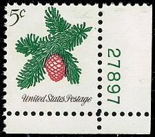 Buy US #1257 Sprig of Conifer P# Single; Used (3Stars)  USA1257-04