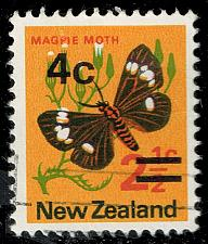 Buy New Zealand #480a Magpie Moth - Surcharged; Used (4Stars) |NWZ0480a-01