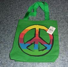 Buy Brand New Green Canvas Peace Sign Design Mini Tote Bag For Dog Rescue Charity
