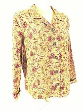 Buy Christopher & Banks Womens XL Gold Red Floral Corduroy Button Top Blouse (C)pm1