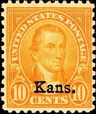 "Buy 1929 10c James Monroe ""Kansas Overprint"" Scott 668 Mint F/VF NH"